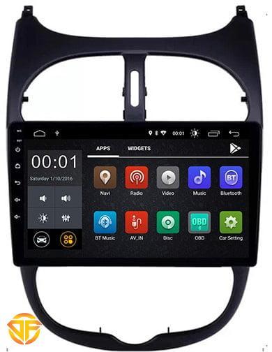 مولتی مدیا فابریک ۹ اینچ اندروید خودروی پژو 206